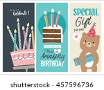 set of birthday greeting cards... | Shutterstock .eps vector #457596736