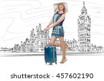 young woman travelling to... | Shutterstock . vector #457602190
