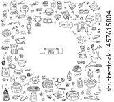 hand drawn doodle pets stuff... | Shutterstock .eps vector #457615804