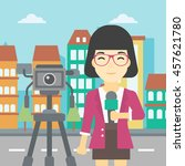 an asian reporter with... | Shutterstock .eps vector #457621780