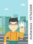 an asian young man pressing...   Shutterstock .eps vector #457622668