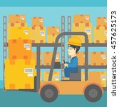 an asian warehouse worker... | Shutterstock .eps vector #457625173