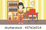 an asian young female student... | Shutterstock .eps vector #457626514