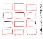 set of 12 grunge red frames ... | Shutterstock .eps vector #457630768