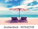 beautiful beach. chairs on the  ... | Shutterstock . vector #457632739