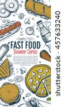 banner with fast food hand... | Shutterstock .eps vector #457633240