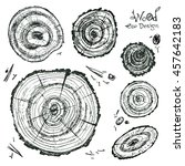 Hand Drawn Vector Wooden Slice...
