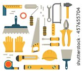 set of flat construction tools... | Shutterstock .eps vector #457655704
