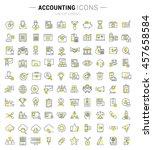 set vector line icons in flat... | Shutterstock .eps vector #457658584