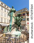 Small photo of LA ROCHELLE, FRANCE - JUL 22, 2015: Monument to the artist, representative of romanticism, Eugene Fromanten (1820-76)