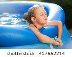 portrait of cute little girl in ... | Shutterstock . vector #457662214