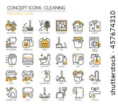 cleaning   thin line and pixel... | Shutterstock .eps vector #457674310
