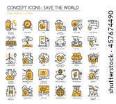 save the world   thin line and... | Shutterstock .eps vector #457674490
