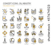 oil industry   thin line and... | Shutterstock .eps vector #457674523