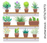 indoor plants in pots flat icons | Shutterstock . vector #457674973