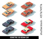 isometric 3d sedan car  city... | Shutterstock . vector #457674976