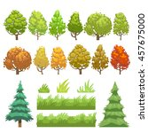 trees and grass flat icons set | Shutterstock . vector #457675000