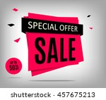 sale banner on a abstract gray... | Shutterstock .eps vector #457675213