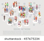 social network concept with... | Shutterstock . vector #457675234