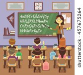 school lesson in classroom with ... | Shutterstock . vector #457675264