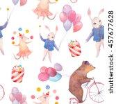 watercolor circus seamless... | Shutterstock . vector #457677628