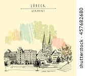 hanseatic city of  lubeck ... | Shutterstock .eps vector #457682680