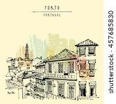 porto  portugal  europe. street ... | Shutterstock .eps vector #457685830
