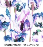 colorful tulips and petals | Shutterstock . vector #457698970