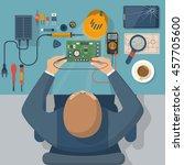 electronics repair. tester... | Shutterstock .eps vector #457705600