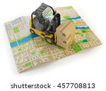forklift with cardboard boxes...   Shutterstock . vector #457708813