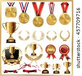 gold trophy and medal with... | Shutterstock .eps vector #457709716