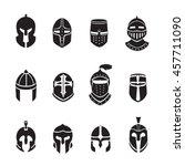 warrior helmets black icons or... | Shutterstock .eps vector #457711090