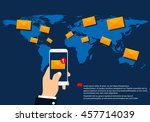 sending or receiving email sms... | Shutterstock .eps vector #457714039