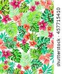 vector floral pattern. seamless ... | Shutterstock .eps vector #457715410