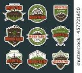 set of mountain travel  outdoor ... | Shutterstock .eps vector #457721650