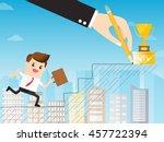 hand of boss using a pencil... | Shutterstock .eps vector #457722394