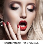 fashion blonde woman with... | Shutterstock . vector #457732366