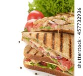sandwich with chicken and... | Shutterstock . vector #457732936