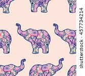 Indian Elephant Seamless Pattern