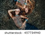 two beautiful boho girls in... | Shutterstock . vector #457734940