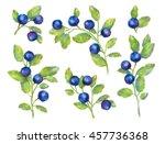 watercolor blueberries wreath... | Shutterstock . vector #457736368