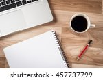 top view of office table... | Shutterstock . vector #457737799