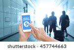 hands holding smartphone with... | Shutterstock . vector #457744663