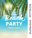 beach party poster template... | Shutterstock .eps vector #457756156