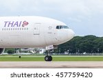 Small photo of Chaing Mai Thailand 15 july 2016 : The Thai airway by Boeing 777-200 aircraft was requesting to fly and moving to runway at Chaing Mai international airport.