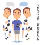 active fitness man lifts... | Shutterstock .eps vector #457762450