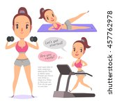 active fitness girl lifts... | Shutterstock .eps vector #457762978