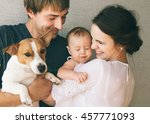 family close up portrait ... | Shutterstock . vector #457771093