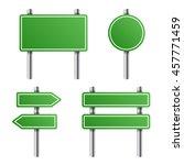 green road sign set on white...   Shutterstock .eps vector #457771459