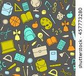 vector school supplies seamless ... | Shutterstock .eps vector #457773280